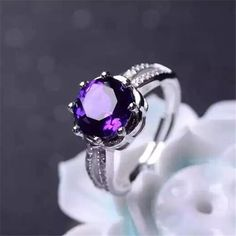 Shiny Flower Style Amethyst 925 Silver Adjustable Cocktail Ring  http://www.jewelsin.com/p-shiny-flower-style-amethyst-925-silver-adjustable-cocktail-ring-1246