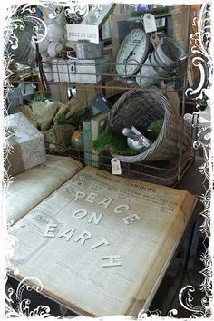Peace on Earth on an old newspaper print - Love it!!!