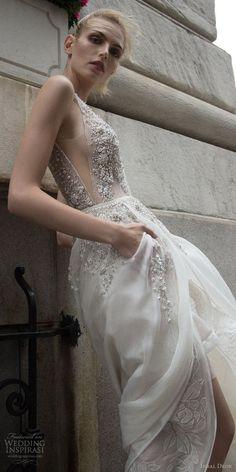 inbal dror 2016 sleeveless v neck illusion strap short wedding dress a line overskirt pocket slit heavily embellished style 11 sdv