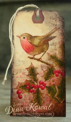 Holly Bird Tag by dini - Cards and Paper Crafts at Splitcoaststampers