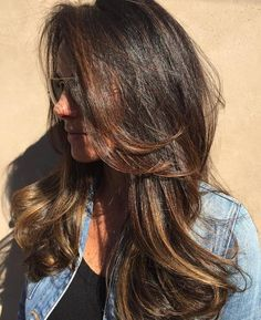 Long+Tousled+Brunette+Balayage+Hairstyle