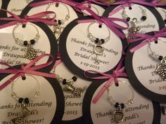 Custom Wine Themed Wine Charm Favors - Weddings, Bridal Shower, Rehearsal Dinner, Anniversary, Birthday, Dinner Party or Special Event