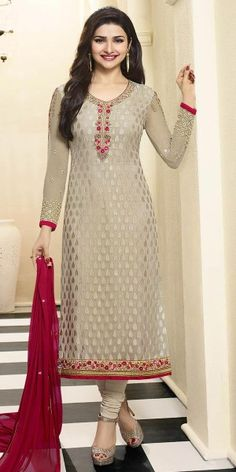Radiant Cream And Pink Georgette Straight Suit.
