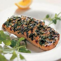 Finely chopped herbs create a flavorful crust on this grilled salmon, which is low in both calories and sodium.