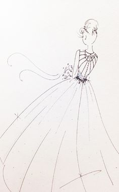 Cinderella Wedding Dress Sketch | 2015 Disney's Fairy Tale Weddings by Alfred Angelo Wedding Dress Collection