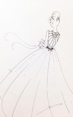 Cinderella Wedding Dress Sketch | 2015 Disney's Fairy Tale Weddings by Alfred Angelo Wedding Dress Collection