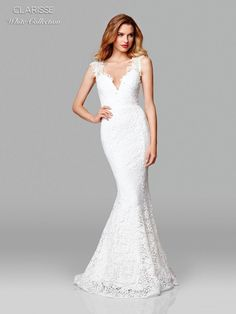 Clarisse White Collection 600117 Lace Informal Wedding Dress