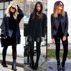 Total black + texturas? Claro que sim! Um jeito incrível de usar a cor preta em todo o visual, sem ficar sem graça! Aposte nas texturas: couro, drapeado, rasgado... misture sempre!  Total Black + Textures ? Of course yes! An incredible way to use black on the whole look without getting over! Bet on textures: leather,  layers, torn... always mix it!  #moda #style #estilo #fashion #black #totalblack #texturas #love