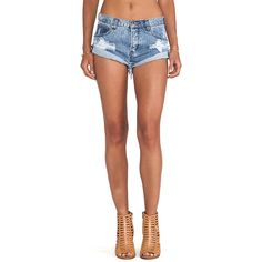 One Teaspoon Bandits Jean Shorts (1060 MAD) ❤ liked on Polyvore featuring shorts, jean shorts, destroyed shorts, distressed jean shorts, ripped shorts, ripped jean shorts and torn jean shorts
