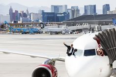 We got lucky with Sir Richard Branson, Las Vegas Showgirls, and celebs on our inaugural flight between LAX-LAS
