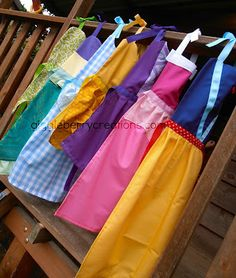 Handmade Princess Dress-Up Aprons. I can see my daughter picking an apron for me and one for her then helping me bake a cake or cook dinner for daddy