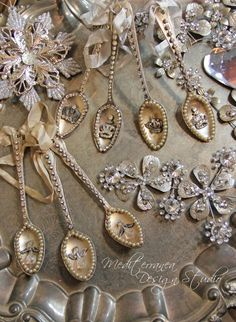 What a unique gift idea and Holiday Ornament! These vintage spoons have each been given new life with a beaded Angel. Hand embellished with rhinestones, faux pearls, crystal beads and crinkled ribbon, truly one of a kind, and one of our customer favorites!  This listing is for one spoon, each individually unique. These spoons can also be combined to create a beautiful garland. All of our ornaments can be used during the holiday season as well as finding a home in a vintage vignette after the…