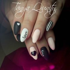 @tanyaqunity_nails Instagram • heart nail design, heart nail art, heart nails, valentines day nails