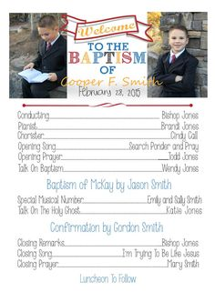 Baptism Program by on Etsy Más Baptism Party, Baptism Gifts, Baptism Ideas, Planning A Baptism, Holy Ghost Talk, Lds Baptism Program, Baptism Announcement, Opening Prayer, Fhe Lessons
