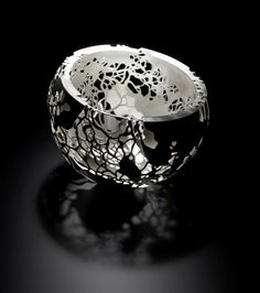 Leaf Canopy Bowl, crafted from double skinned silver by Alex Ramsay. Crafted 2014