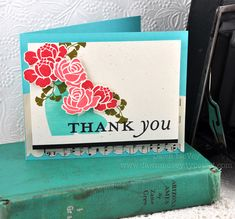 Floral Thank You Card by Dawn McVey for Papertrey Ink (July 2012)