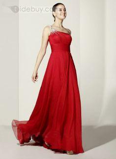 Glamorous A-line One-Shoulder Beading Floor-length Evening Dress