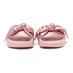 Bow Pink Satin Slide Sandals ($96) ❤ liked on Polyvore featuring shoes, sandals, pink slide sandals, bow sandals, satin sandals, pink bow shoes and pink shoes