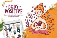 Body Positive Girls Illustration ✧˖° by Uniyok on @creativemarket  Body positive, love your body, scar girl, ginger girl, motivational, disable girl illustration,