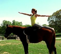 A few years ago, I had the opportunity to do equestrian yoga. Unfortunately, I don't have a photo of myself so here's one of someone else I found online. We did simple movements with our arms like what the girl in the photo is doing and we also spent a good amount of time just feeling the horse breathing in and out. It was very relaxing and  I was surprised by how the subtlest of movements made by the horse effected me (in a relaxing way).