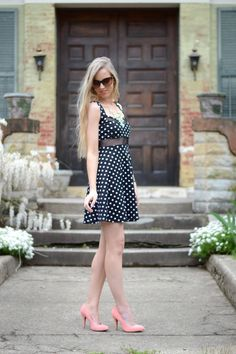 Lacy Rose in a  Deb Shops polka dot dress