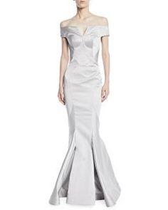 9dd7954b9f8a2 Brandon Maxwell Designer Long-Sleeve Wrap-Belt Silk Faille Evening Ball Gown    Avivey (Style Lives Here)