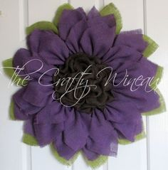 Purple Flower Burlap Wreath, Sunflower, Spring Wreath, Summer Wreath, Customizable Wreath - pinned by pin4etsy.com