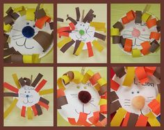 Lions preschool-art, let the child choose curly or straight hair