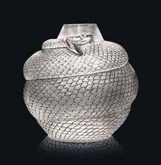 SERPENT VASE, NO. 896 designed 1924, clear, frosted and black stained intaglio R. LALIQUE 25 cm. high