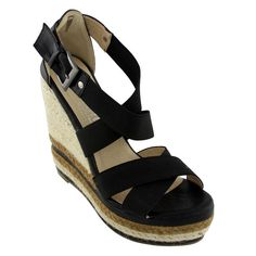Heidi Wedge Espadrilles Black