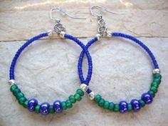 Hoop Earrings Blue and Green Summer & Beach by KidsAtHeartBeadShop