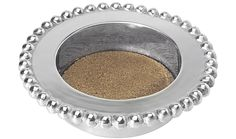 Pearled Wine Coaster | Lucky Den Not just any wine holder, this piece features an interior protective cork insert and raised pearled border that dresses up any bottle of wine for elegant entertaining.