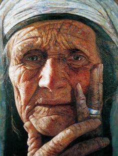 portrait by Yan YaYa Old Faces, Many Faces, Watercolor Portraits, Watercolor Paintings, Watercolors, L'art Du Portrait, Interesting Faces, People Around The World, Fine Art