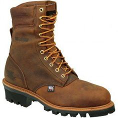 804-3550 Thorogood Men's WP Insulated Safety Loggers - Brown www.bootbay.com