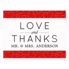 Thank You - Love Romance Hearts - Red Postcard - postcard post card postcards unique diy cyo customize personalize