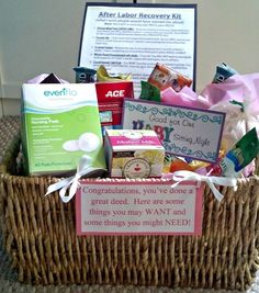 basket for new mom. I may have to do something like this for our next new mom, I won't mention any names, Heather.