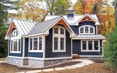 We are Muskoka builders and designers that have been trusted with developing quality custom homes and cottages in Muskoka for over 20 years. Navy House Exterior, Cottage Exterior Colors, Exterior Design, Exterior Siding, Exterior Paint, Cottage Design, House Design, Navy Blue Houses, Blue Siding
