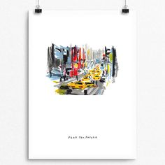 New York Street 001 NY Art City Print 42nd by PearTeaPaperie