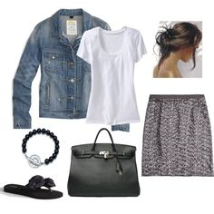 Love a white t with a denim jacket...could pair with a ton of different skirts!!