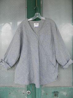 FLAX Engelhart Basic 2001 Diagonal Shirt -1G/1X- Blue Shimmering Stream Linen #FLAX #Linen #Casual