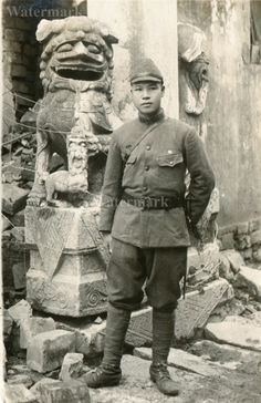 Japanese soldier in destroyed China