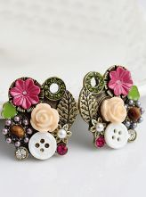 Gold Flowers Leaf Button Stud Earrings $9.64 #SheInside