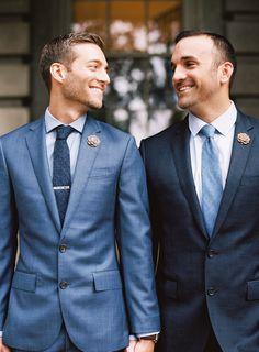 Photography : Graham Terhune | Grooms Attire : J Crew | Lapel Flowers : Two Guys Bowtie Read More on SMP: http://www.stylemepretty.com/2016/01/05/intimate-elegant-same-sex-fall-wedding-in-north-carolina/