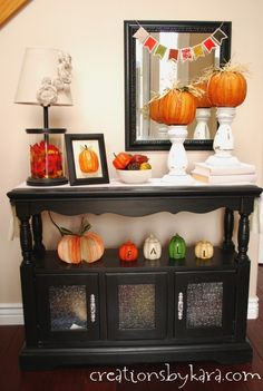 Fall decor ideas for the entryway table. I love fall!   #homedecor #fall -from creationsbykara.com