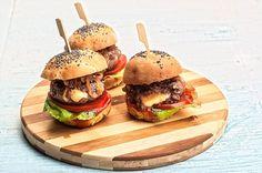 Mini γεμιστά burger με ψωμί μπριός