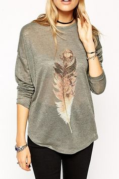 Stylish Feather Printed High Low Tee