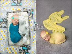Newborn girl. Teal, yellow and grey theme. http://crystalleephotography.com