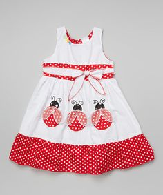 Look at this #zulilyfind! White Polka Dot Ladybug Sash Dress - Infant Toddler & Girls #zulilyfinds