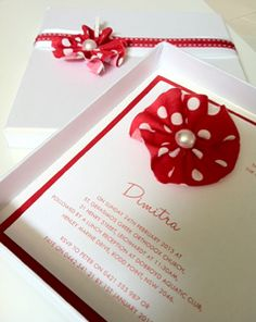 Polka dot fabric flower christening or first birthday invitation, Gaia Creative Shop