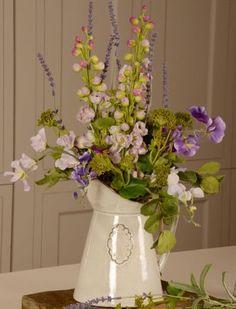 Artificial Delphiniums and Sweetpeas in a Grey Glazed Vase. Artificial Flower Arrangements, Artificial Silk Flowers, Wedding 2017, Summer Flowers, Flower Vases, Glass Vase, Presentation, Delphiniums, Flower Ideas
